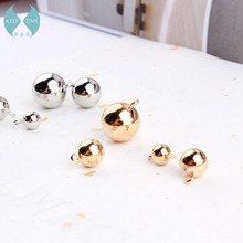 protection electroplating copper copper ball stud Pendant Bead Pendant Earrings DIY K white gold bracelet pendant accessories bead ball stud earrings