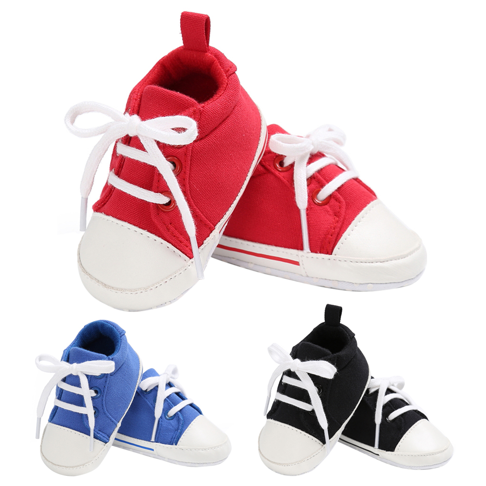 Casual Spring Autumn Newborn Baby Girl Boy Soft Sole Canvas Shoes Sneaker Prewalker Toddlers Anti Slip Cross-Tied Sports Shoes