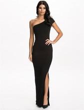 RE70331 Best designed one shoulder black women long dress hot sale plus size 3XL dress summer new style floor-length dress 2016