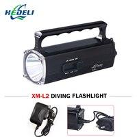 100 M ánh sáng dưới nước mạnh mẽ led flashlight torch lặn có thể sạc lại led flash light xách tay CREE XM L2 đèn pin đèn