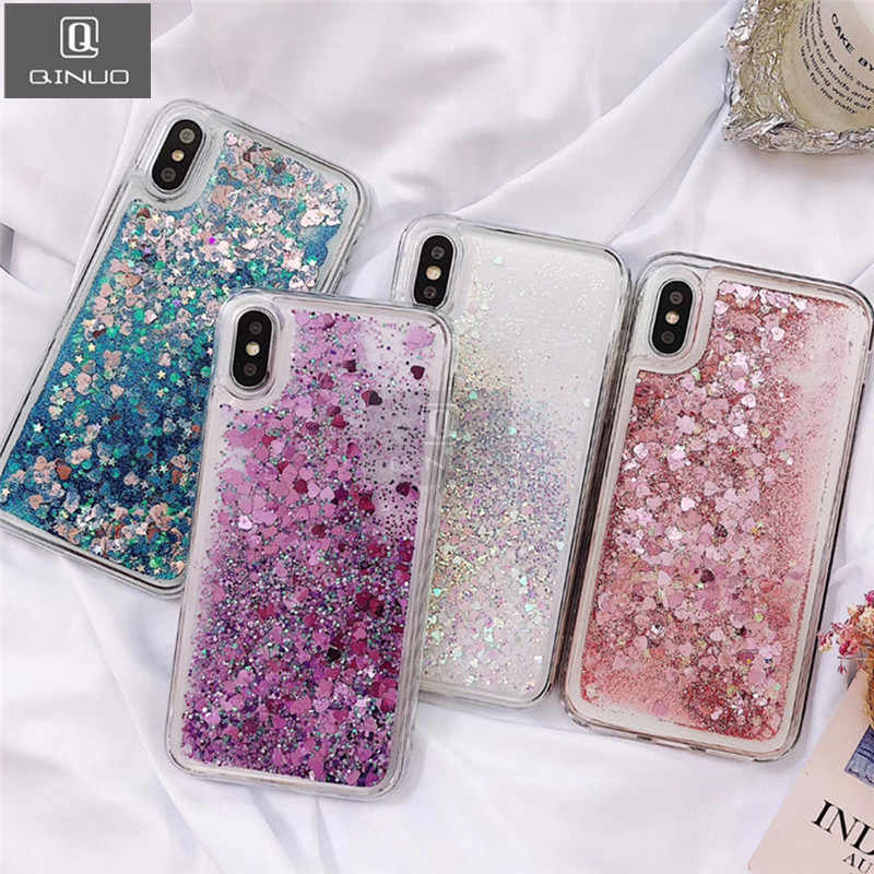 QINUO Love Heart Glitter Phone Case For iphone X XR XS MAX Liquid Quicksand Cover For iphone 5 5S SE 6S 6 7 8 Plus Bling Sequins