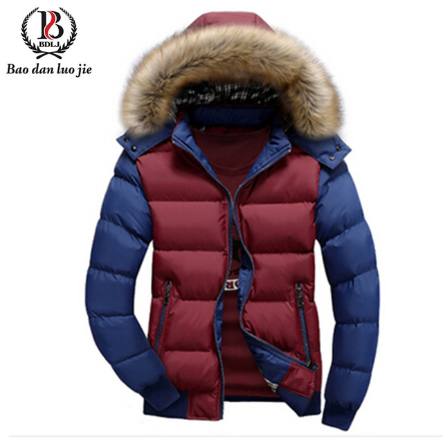 New Arrival Brand Down Jacket Men Hooded Fashion Casual Thicken Cotton Coats For Winter Fur Hoody Patchwork Outwears