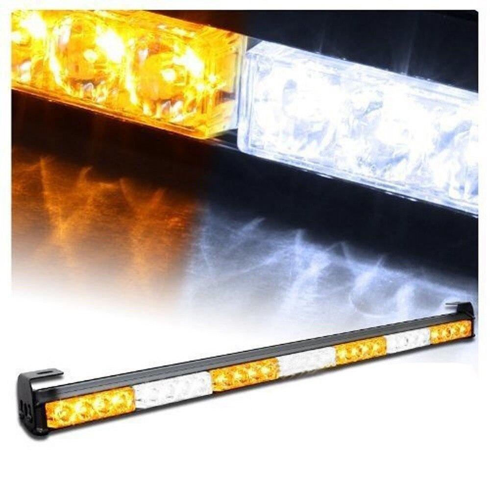 CYAN SOIL BAY 28 LED 31.5 Amber White Emergency Traffic Advisor Flash Strobe Light Bar Warning