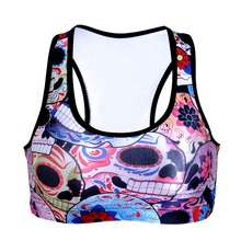 NEW 0014 Summer Sexy Girl Women Hallowmas Flower skull 3D Prints Padded Push Up Gym Vest Top Chest Running Sport Yoga Bras