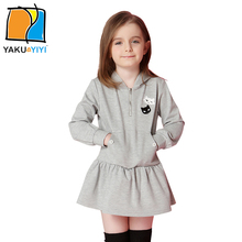 YKYY YAKUYIYI Sweet Cartoon Embroidery Girls Dress Long Sleeve Baby Girl Mini Dress Pockets Hooded Children Dress Girls Clothing