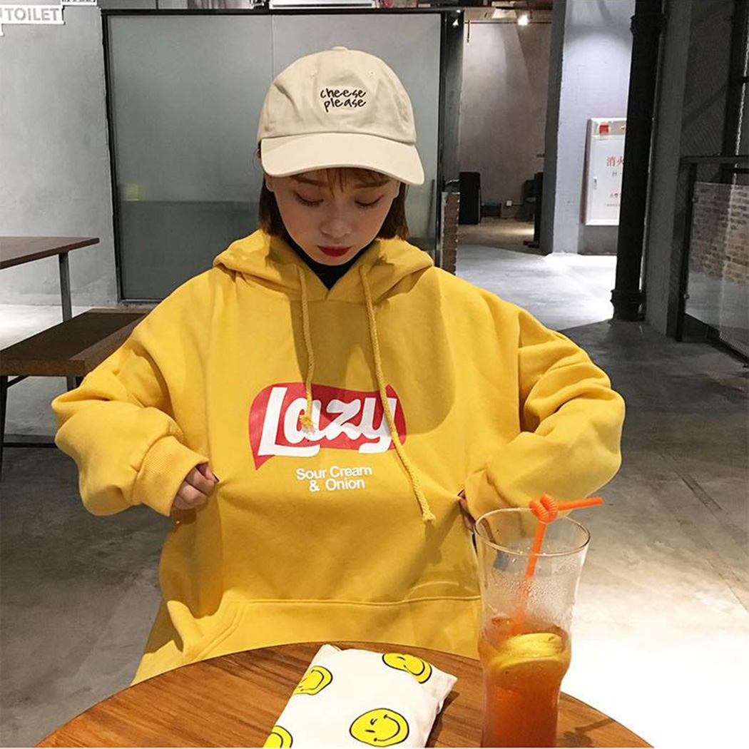 Women Cute Lazy Letter Yellow Hoodie Sweatshirt Fashion Harajuku Loose Fleece Sweatshirt Tops Korean Hooded Tracksuit Meletom(China)