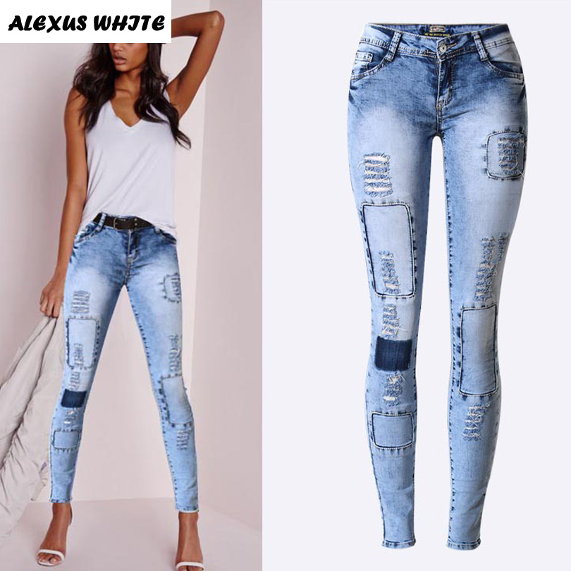 Pop Mince Crayon Pantalon Femmes 2017 Stretch Trou Déchiré Jeans Dames De  Mode Maigre Denim Pantalon