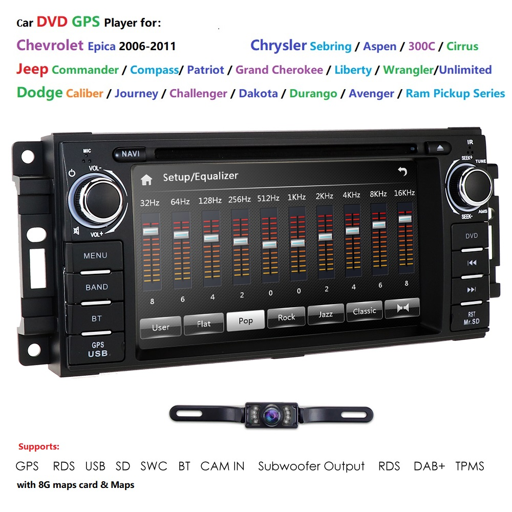 Auto Stereo GPS Navigation DVD Radio for <font><b>Chrysler</b></font> <font><b>300C</b></font> Jeep Wrangler Dodge Ram SWC BT SD RDS fit for <font><b>Chrysler</b></font>/Sebring/Aspen/<font><b>300C</b></font> image