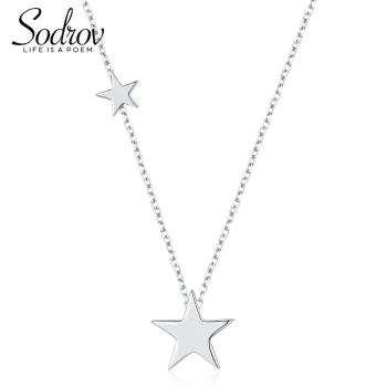 Sodrov 925 Sterling Silver Double Stars Pendants Necklace Trendy Elegant Necklaces Fine Jewelry for Women 925 sterling silver flower pendants for women natural hetian jade gemstone elegant orchid engraved fine jewelry