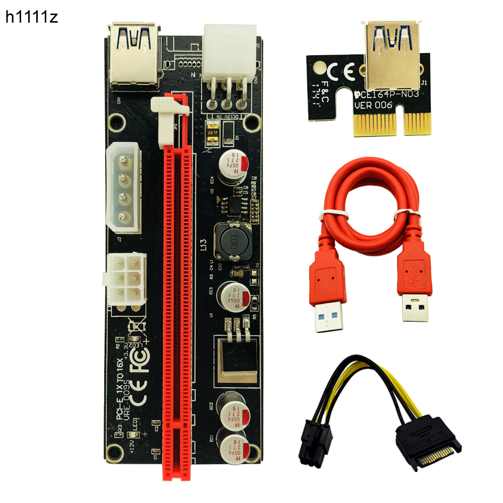 Riser 009s PCI Express PCI-E 1x to 16x Riser Card Extender Adapter USB 3.0 Cable 6pin 4pin molex for BTC Miner Antminer Mining 50cm pci e pci e express 1x to 16x graphics card riser card usb 3 0 extender cable with power supply for bitcoin litecoin miner