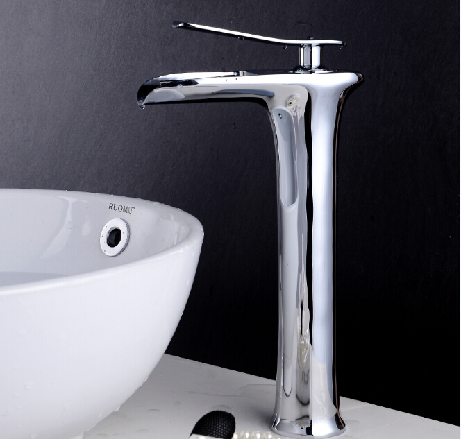 Free Shipping Chrome U0026 White Tall Waterfall Faucet Bathroom Faucet Bathroom  Basin Mixer Tap With Hot And Cold Water Tap In Basin Faucets From Home ...