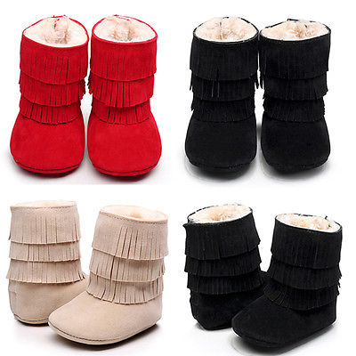 2016 HOT Newborn Baby Girls Tassel Shoes Soft Sole Winter Warm Slippers Boots Cute Cotton Snow Boots Shoes