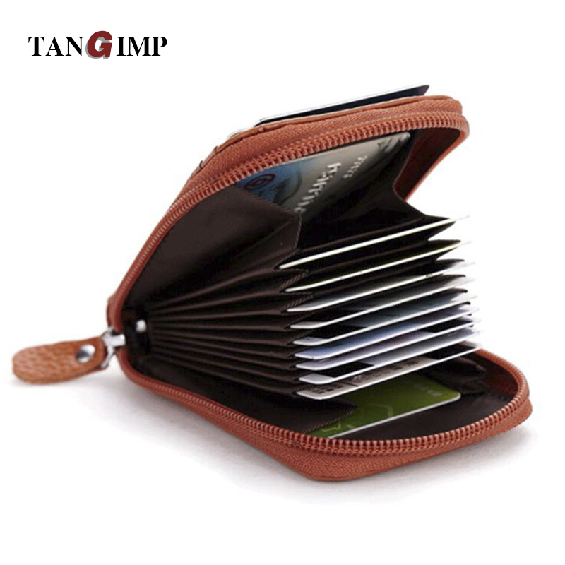 TANGIMP First Layer Leather Women Card Holder Wallets Female Credit Card Holder Organ Trunk Card holder Coin Purse 2017