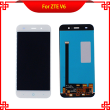 "10PC/Lot 5"" LCD White Full Display Touch Screen Digitizer Assembly For ZTE Blade Z7 X7 D6 V6 Free Shipping Mobile Phone LCDs"