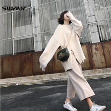 SWYIVY Women Sets Sweaters+pants Two Pieces 2018 Autumn Winter New Female Long Sweater With Wide Leg Pant Loose White Woman