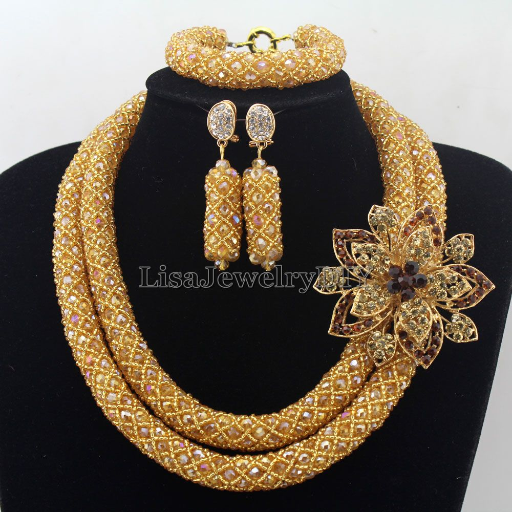 Charming Statement Necklace Nigerian champagne Crystal Jewelry Set Womens Jewellery Set HD7383Charming Statement Necklace Nigerian champagne Crystal Jewelry Set Womens Jewellery Set HD7383