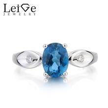 Leige Jewelry London Blue Topaz Ring Topaz Wedding Ring November Birthstone Oval Cut Blue Gemstone 925 Sterling Silver Gifts