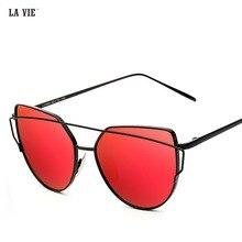 Sunglasses Women Cat Eye 2017 Hot Mirror Rose gold mirror cat eye sunglasses Vintage Sun Glasses Shadow Gafas Oculos