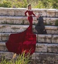 vestido de noiva Wine Red Long Sleeves Evening font b Dresses b font Sexy Off the