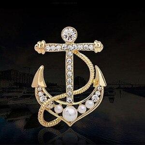 Модный золотой бисер с кристаллами и жемчугом, прикольная брошь с якорем, Элегантные Заколки для ювелирных изделий, розничная продажа