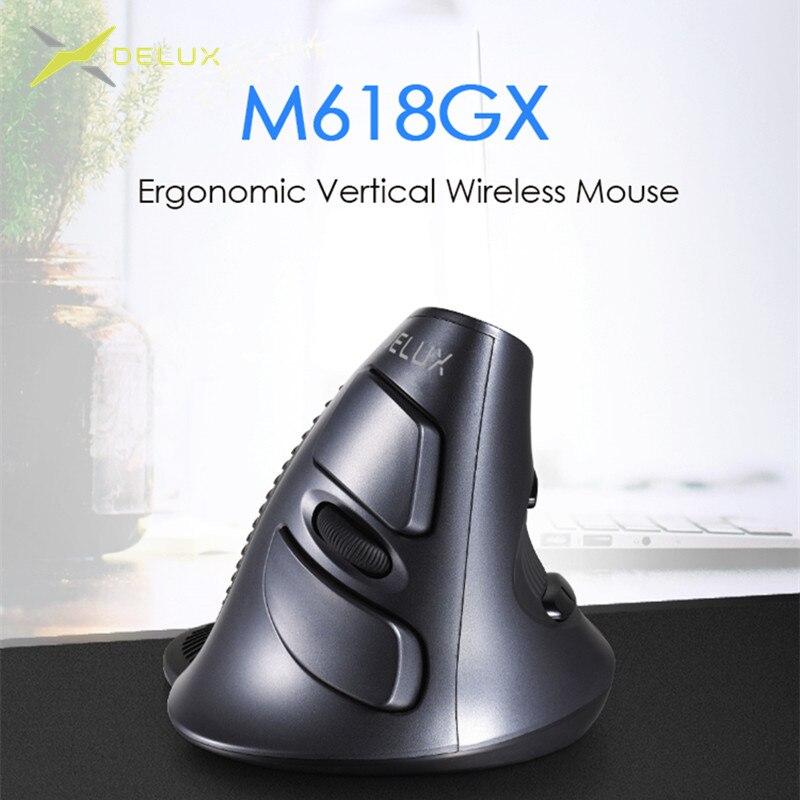 Мышь Вертикальная Беспроводная оптическая Delux M618 GX, 6 кнопок, 1600DPI
