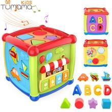 Tumama, Многофункциональные Музыкальные Игрушки для малышей, музыкальная шкатулка, куб, часы, геометрические блоки, сортировка, развивающие игрушки