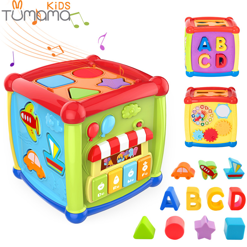 Tumama Multifuncional Musical Brinquedos Da Criança Do Bebê Caixa de Música Cubo Atividade Relógio Engrenagem Blocos Geométricos de Classificação Brinquedos Educativos