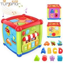 Tumama Многофункциональные Музыкальные игрушки, детская шкатулка, музыкальная активность, куб, шестерня, часы, геометрические блоки, сортировка, развивающие игрушки