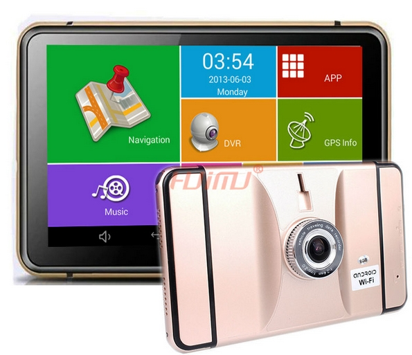 7 Inch Android GPS DVR Navigation Tablet Android 4.4.2 Wifi Bluetooth AV-IN FM 8G 512M Lens Wide Angle 1080P G-Sensor