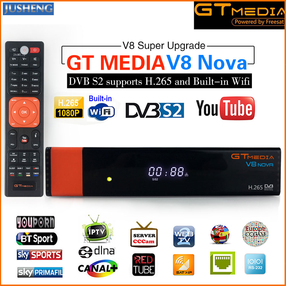 GT Media V8 Nova DVB-S2 Freesat Satellite Receiver H.265 built-in WIFI Support CCcam 7clines PowerVu DRE &Biss key WEB TV,IPTV, цена 2017