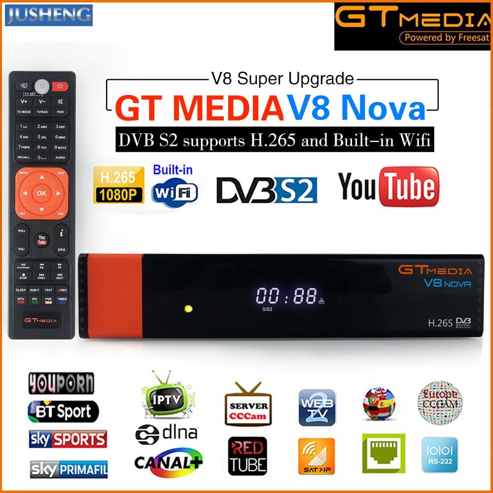 GT Media V8 Nova DVB-S2 Freesat Satellite Receiver H 265 built-in WIFI  Support CCcam 7clines PowerVu DRE &Biss key WEB TV,IPTV,