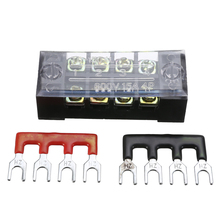 1pc 600V 15A 4P Power Distribution block Double Row Wire Barrier Terminal Block With 2 Connector Strips for Electronic Connector black plastic housing aluminum plated 2 3cm dia holes power connector 180a 600v page 3