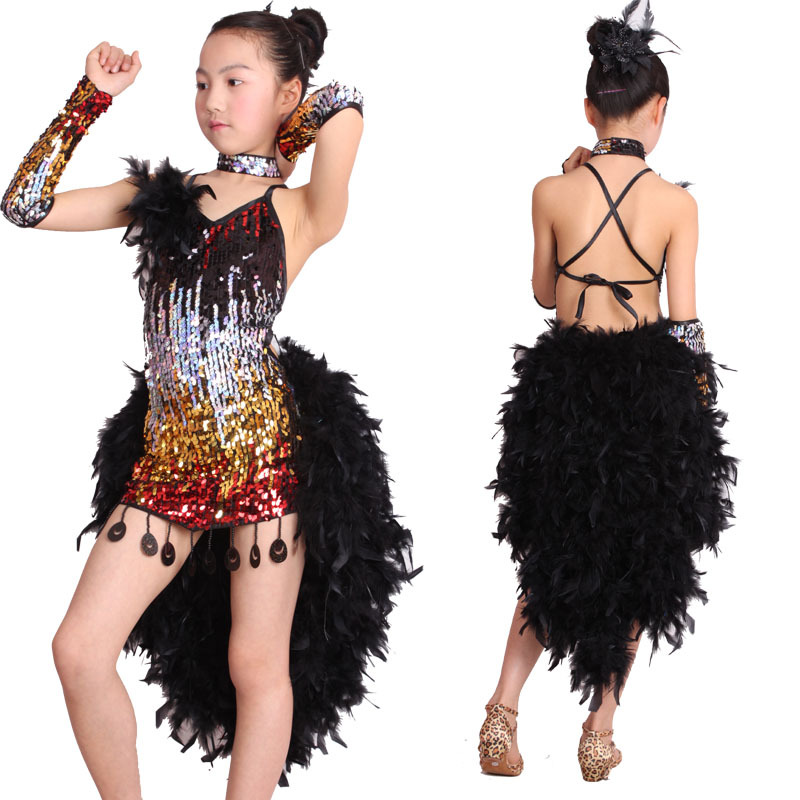 eb46561d Hot New Girls Latin Dance Dress Costume Shining Sequin+Sexy Feather Skirt  Salsa Jazz Ballroom Dance Performance/Competition Wear-in Latin from  Novelty ...