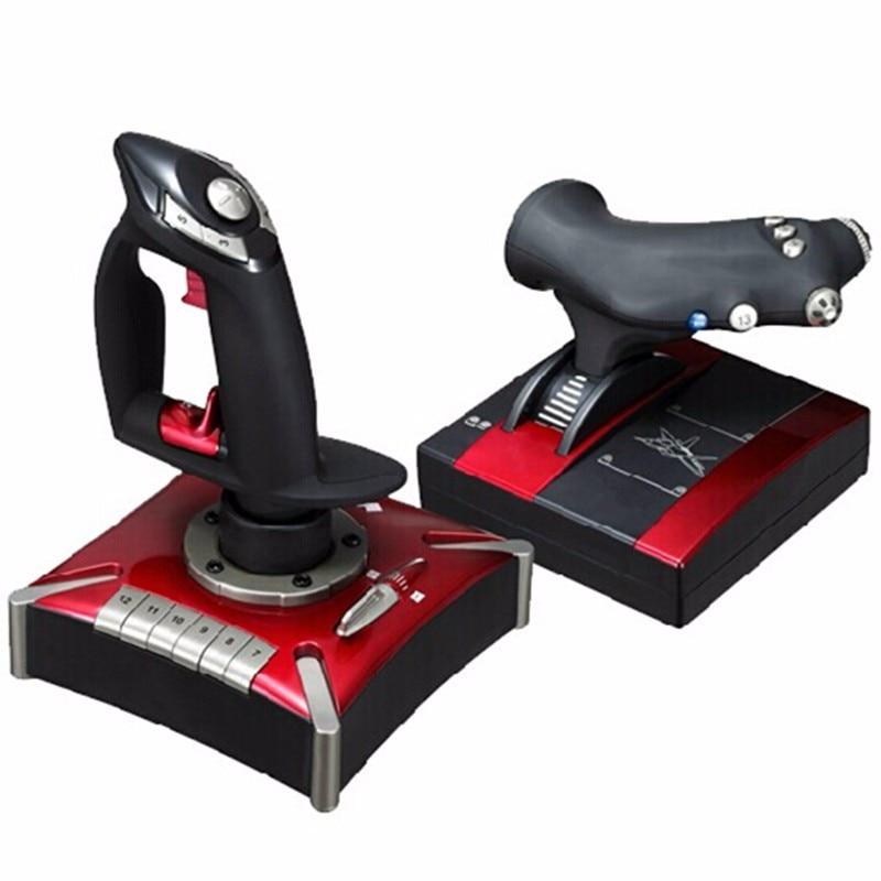 Manette de jeux volants poignée de haute qualité deux mains vol rocker simulateur de vol manette, contrôleur de jeu d'ordinateur joypad