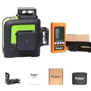 Image 5 - Huepar láser de línea cruzada 3D, 12 líneas, nivel verde, autonivelante, 360, Vertical, Horizontal, con receptor láser LCD Digital