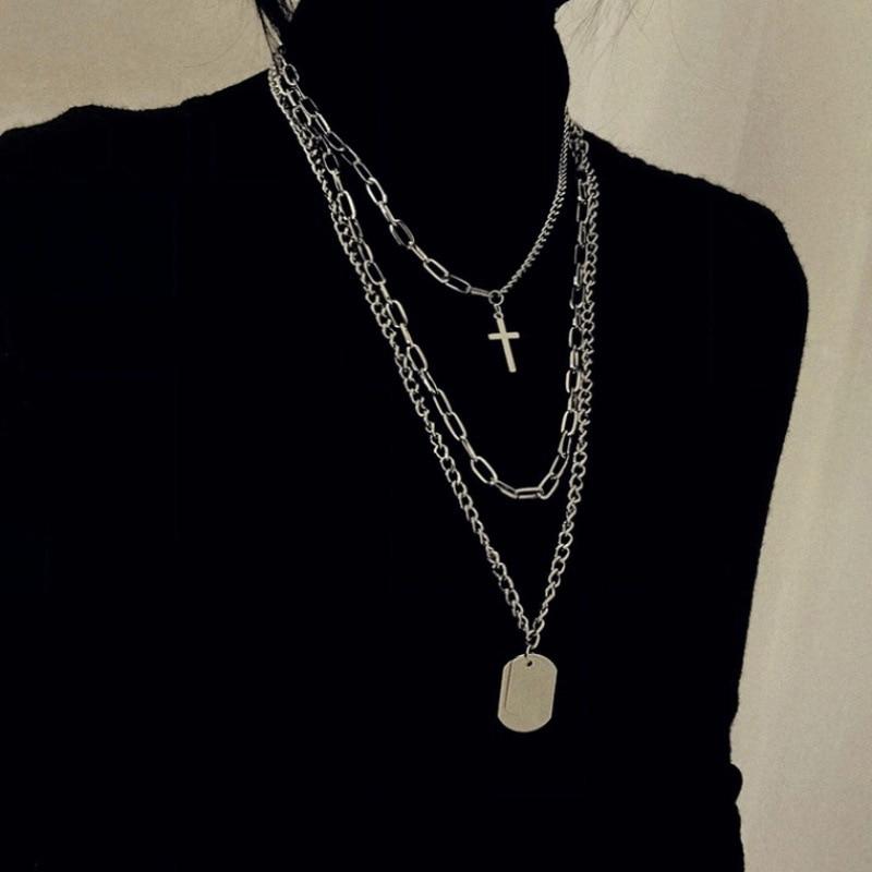 KMVEXO Multilayers Punk Silver Chains Cross Necklace Couple Fashion Street Hip Hop Geometric Metal Pendant Necklaces