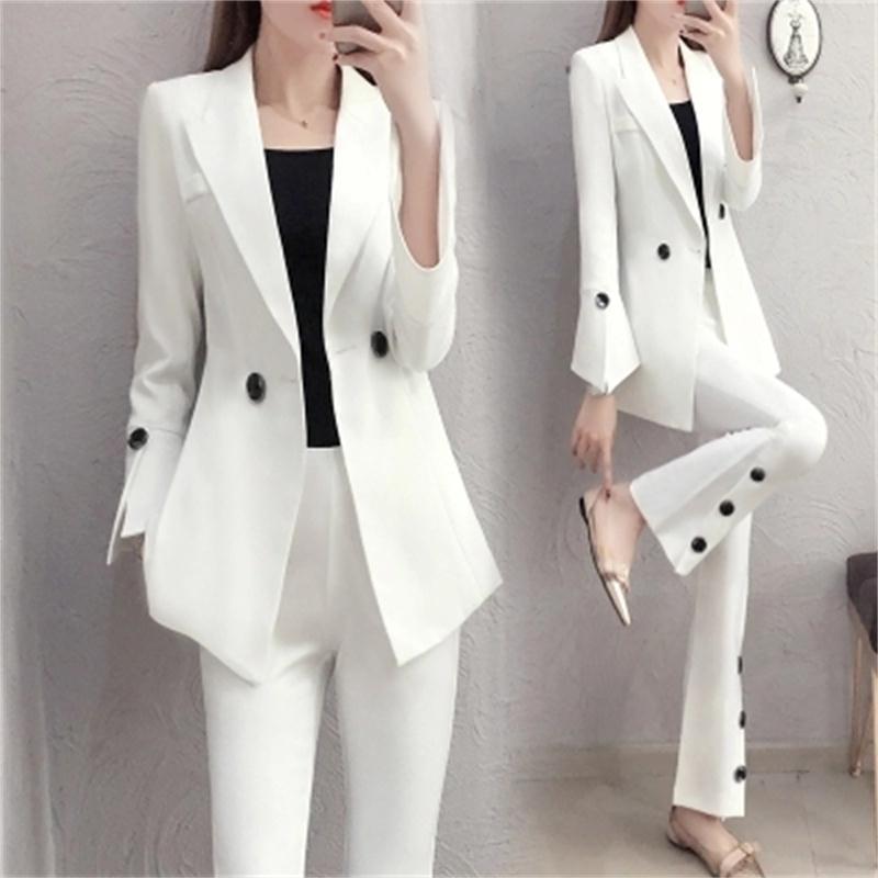 Женский облегающий костюм, белый костюм с роговыми брюками, комплект из двух предметов, профессиональный костюм для весны