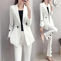 NEW Spring fashion Slim white suit suit female temperament ladies small wind horn pants two sets Professional suit female