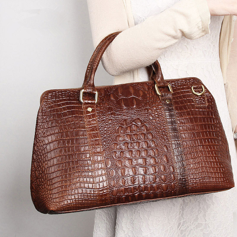 Main Mode black Sacs Handbags Femmes En Européenne Totes Grand Sac Véritable De Vintage À Alligator Voyage Brown Icev Handbags Dames Cuir HA4FYWpIx