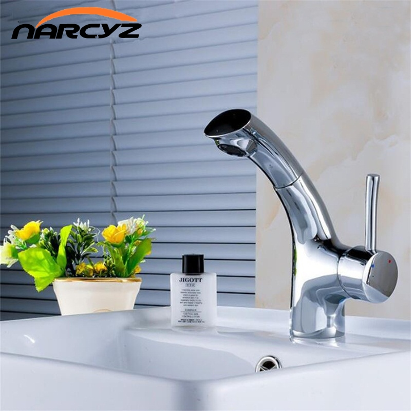цена Narcyz Cheaper Countertop basin pull head faucet telescopic multi - functional hot and cold water faucet