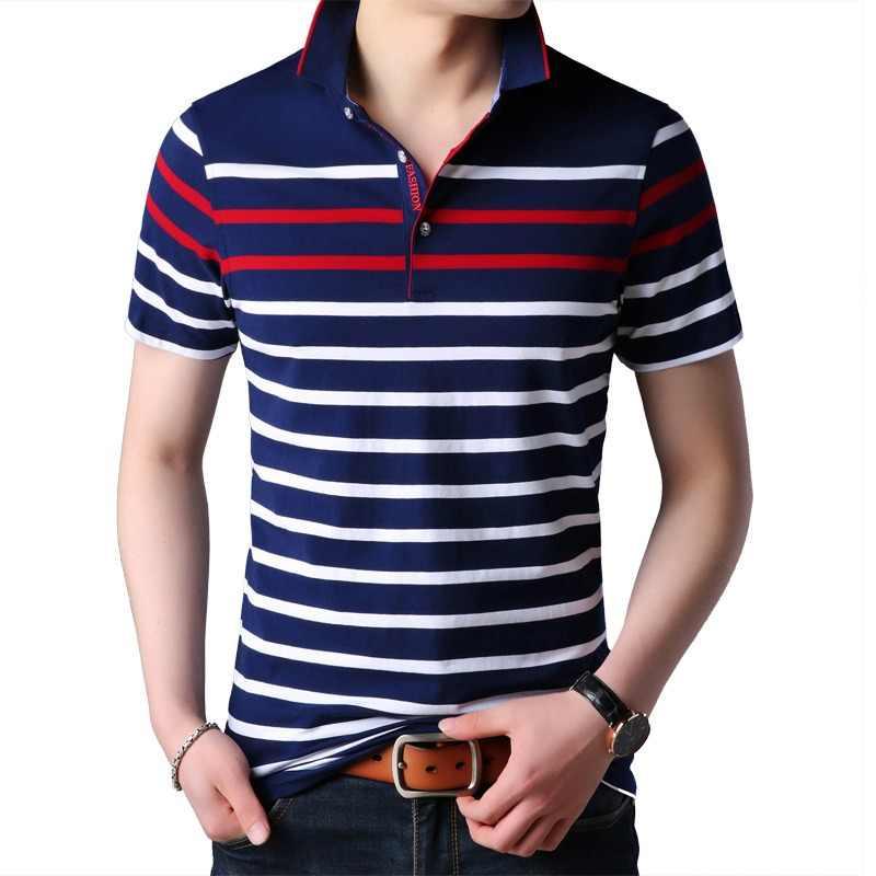 ee27cc776a0 Liseaven hombres Polo manga corta rayas Polos Hombre Tops & Tees marca ropa  hombres Camisas