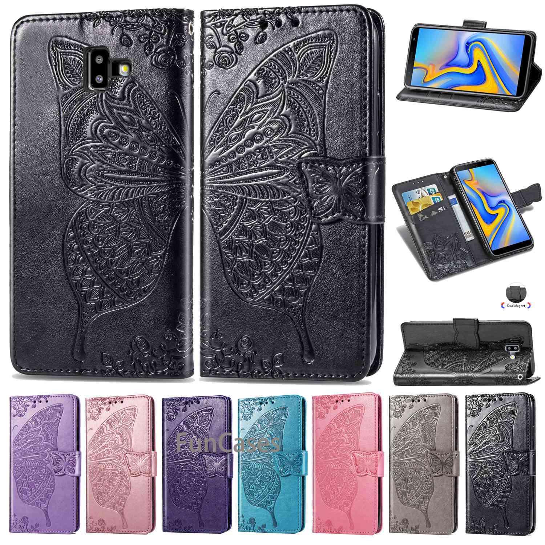 J6 + Case For Samsung Galaxy J6 Plus Case Leather Vintage Phone Coque Samsung J6 Plus Case Flip Wallet Case