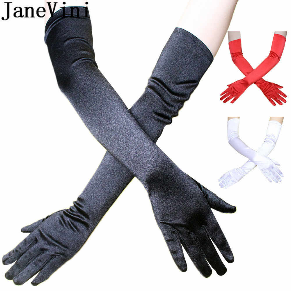 "JaneVini 55CM Long Satin Wedding Gloves for Bride 21.6"" Elbow Length Full Finger Bridal Gloves Evening Party Gant Mariage Blanc"