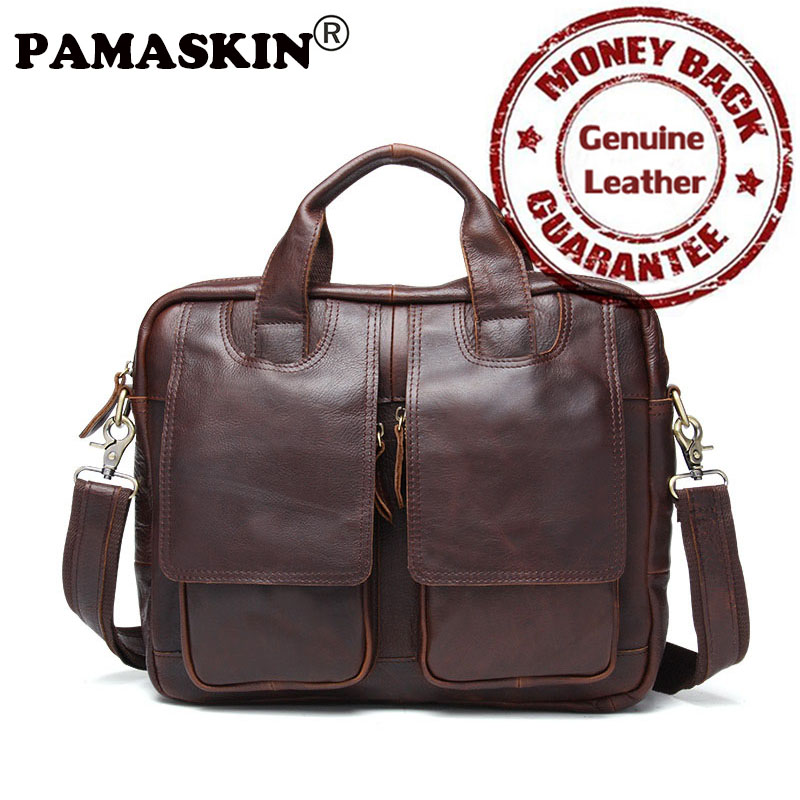 PAMASKIN New Design Men's Briefcases Laptop Bags Satchel Bag For Men 2017 Luxury Genuine Leather Brand Business Messenger Bags
