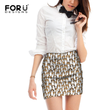 FORUDESIGNS Women Mini Skirts Beagles Pet Dog Print Ladies Funny Puppy Pattern Casual Bottoms for Females Kawaii Pencil Skirt