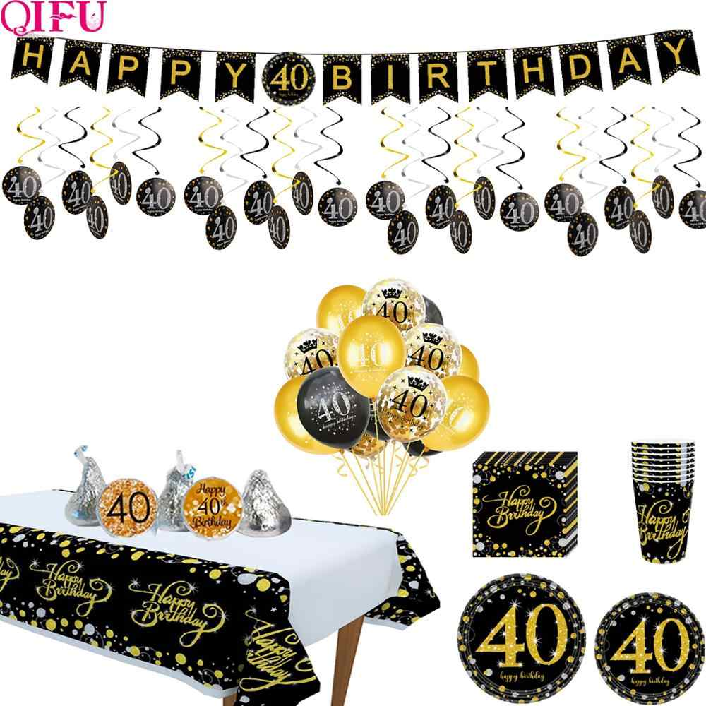Black Gold Balloon Set Happy Birthday 40 Years Balloons 40 years Birthday Decoration Cheers to 40 Years Birthday Party Supplies