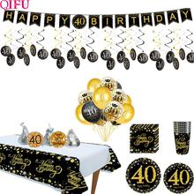 Black Gold Balloon Set Happy Birthday 40 Years Balloons years Decoration Cheers to Party Supplies
