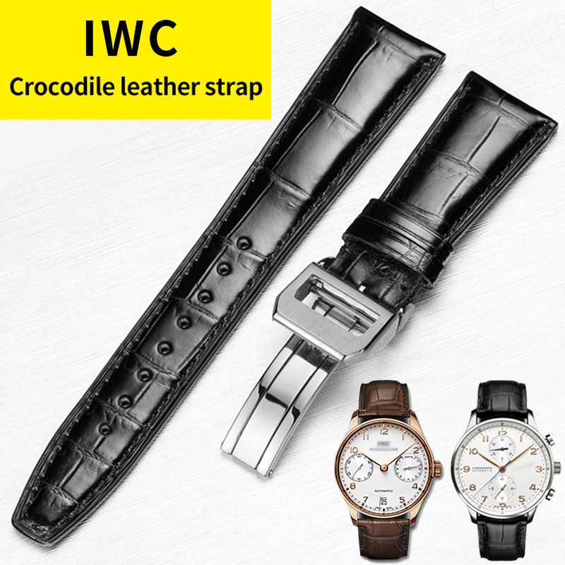 HOWK Watchband Substitute IWC Watch Band 20mm 21mm 22mm Leather Watch Band Alligator Bamboo Strap With Butterfly Buckle