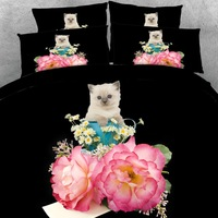 6 Parts Per Set Pretty White kitten and roses present 3d animal bed sheet set