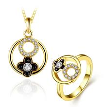 S478-A  Elegant Cute Women Lady Girls Flower Ring and Necklace Set Flower Pendant Necklace and Rings Rhinestone Jewelry Gift